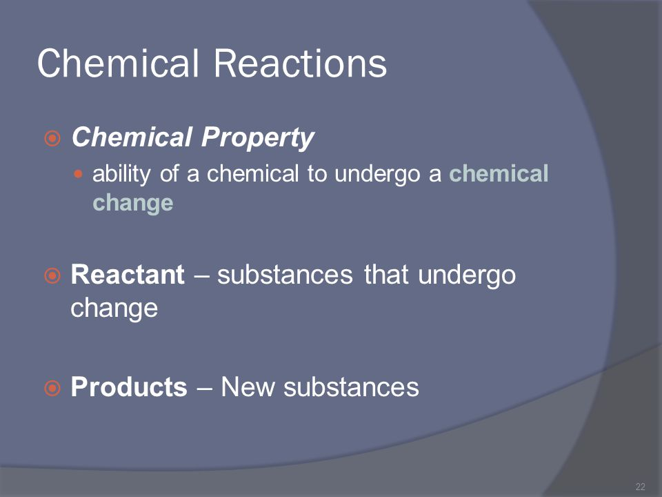 Chemical Reactions Chemical Property