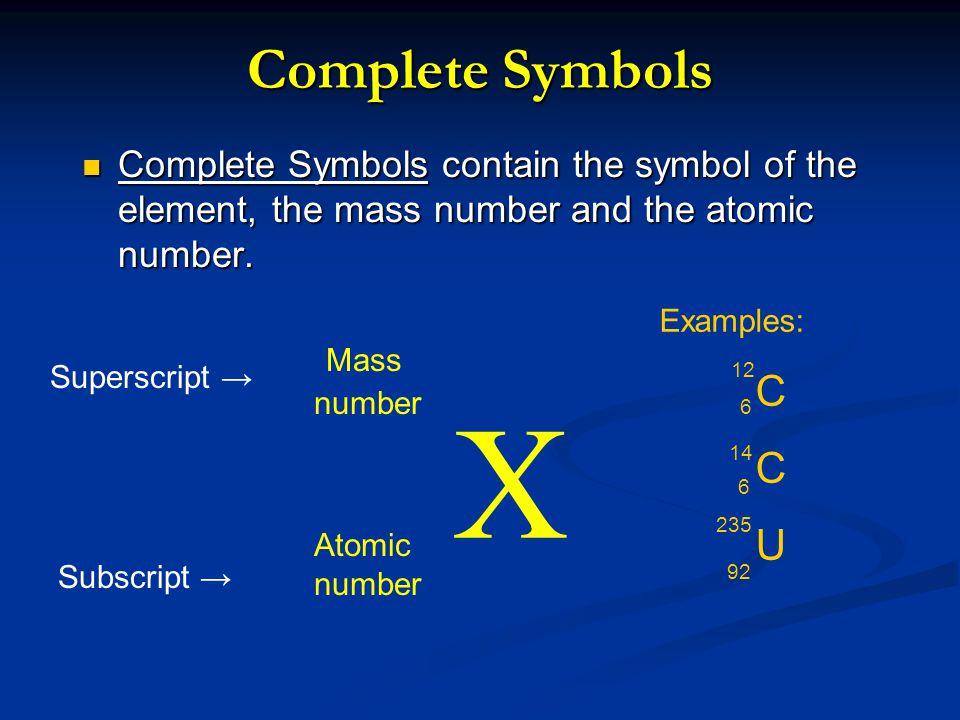 X Complete Symbols Mass U