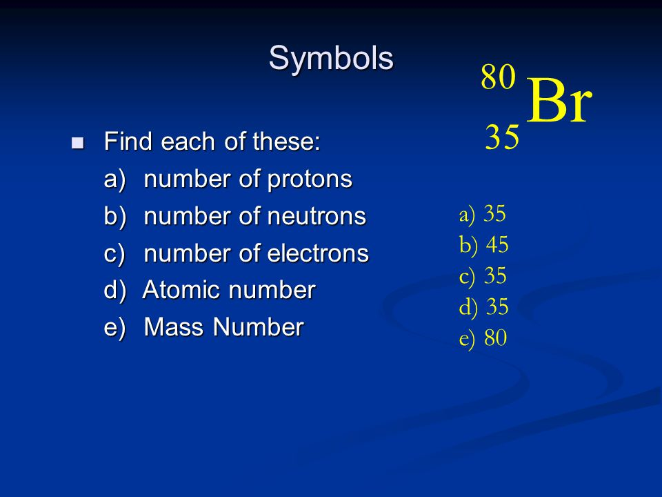 Br 80 35 Symbols Find each of these: number of protons