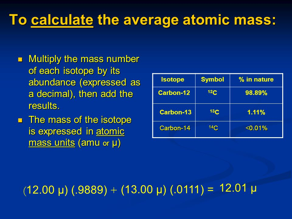 To calculate the average atomic mass: