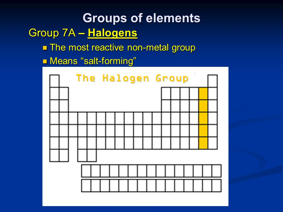 Groups of elements The Halogen Group Group 7A – Halogens
