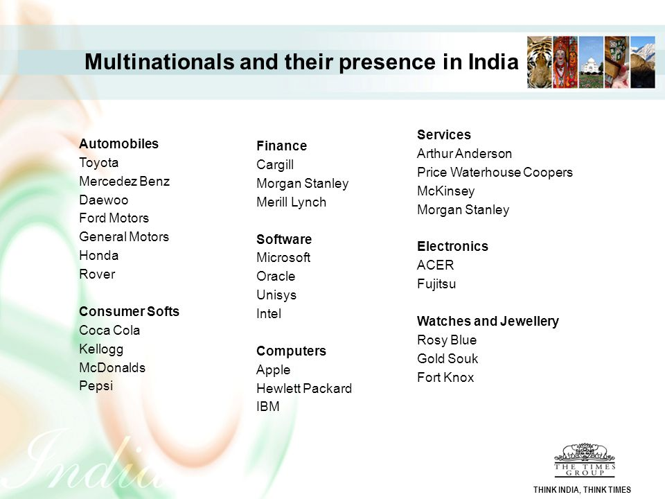 Multinationals and their presence in India