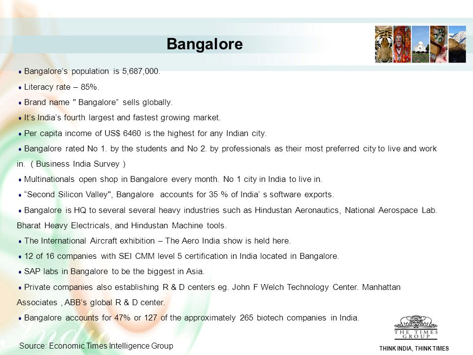 Bangalore Bangalore's population is 5,687,000.