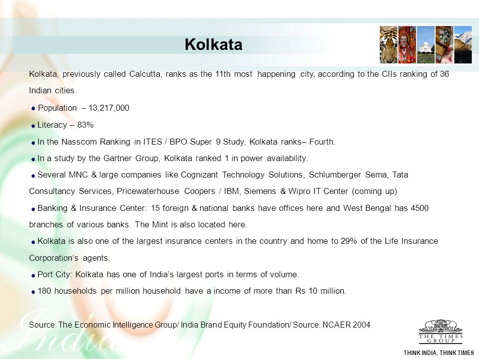 Kolkata Kolkata, previously called Calcutta, ranks as the 11th most happening city, according to the CIIs ranking of 36 Indian cities.