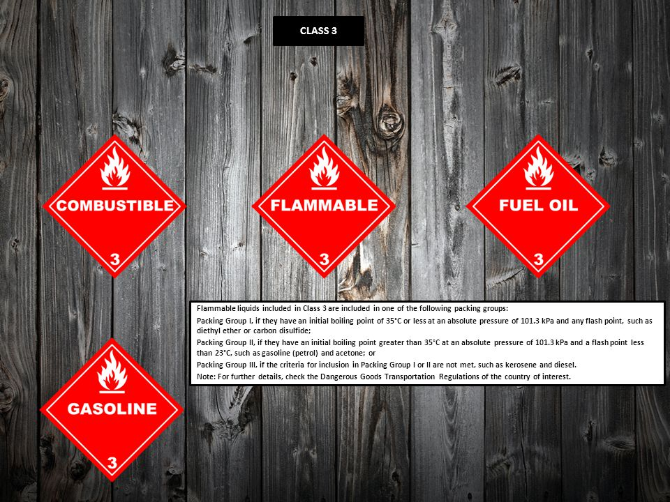 CLASS 3 Flammable liquids included in Class 3 are included in one of the following packing groups: