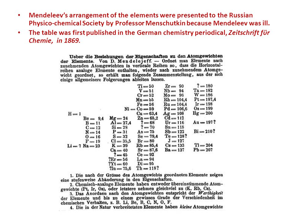 Mendeleev's arrangement of the elements were presented to the Russian Physico-chemical Society by Professor Menschutkin because Mendeleev was ill.