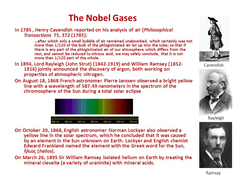 The Nobel Gases In 1785 , Henry Cavendish reported on his analysis of air (Philosophical Transactions 75, 372 (1785):