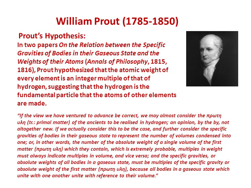 William Prout (1785-1850) Prout's Hypothesis: