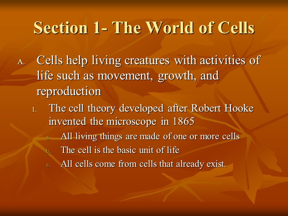 Section 1- The World of Cells