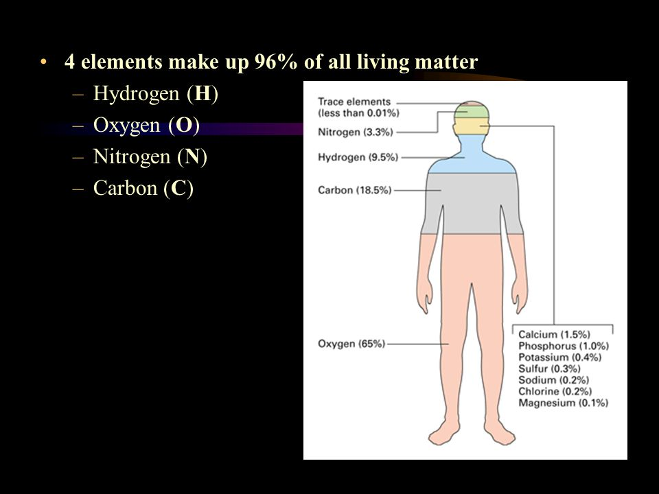 4 elements make up 96% of all living matter