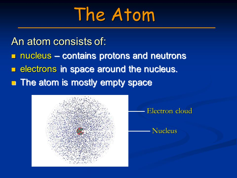 The Atom An atom consists of: nucleus – contains protons and neutrons