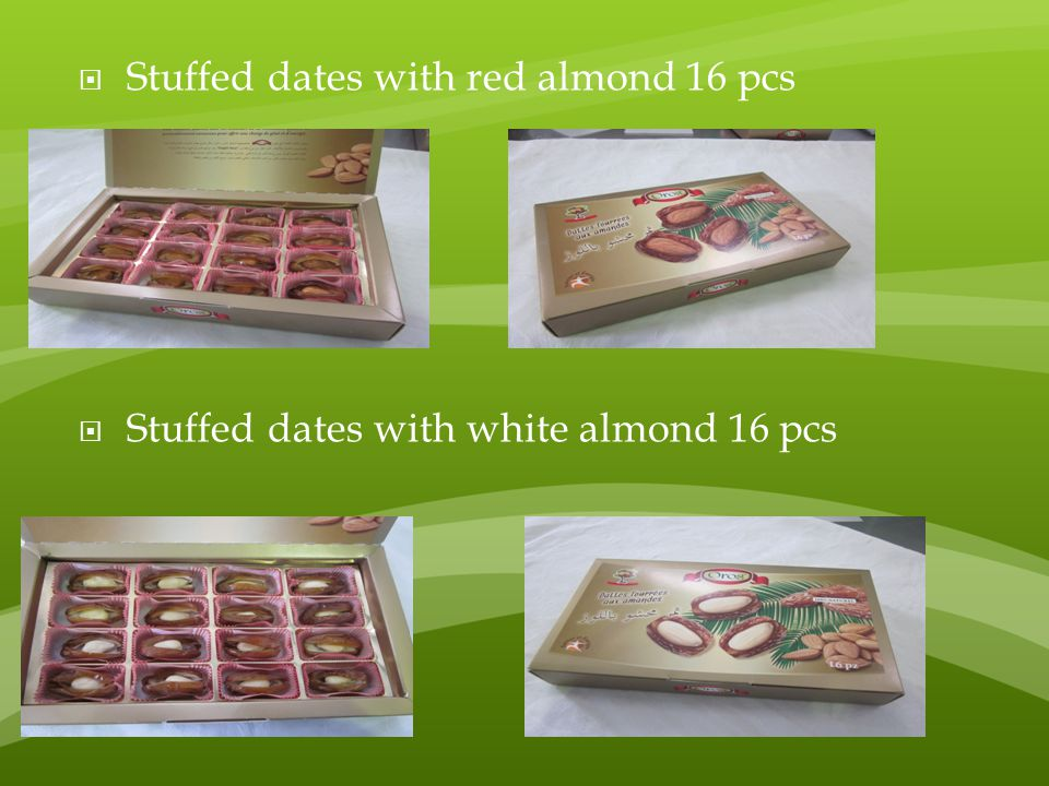 Stuffed dates with red almond 16 pcs