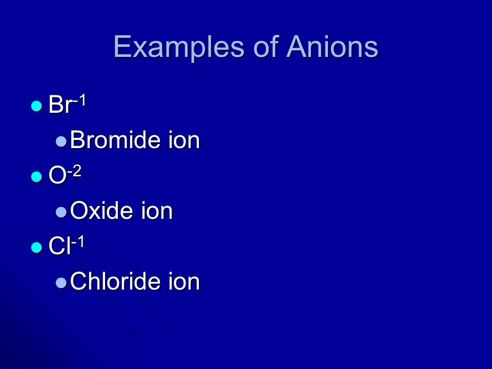 Examples of Anions Br-1 Bromide ion O-2 Oxide ion Cl-1 Chloride ion