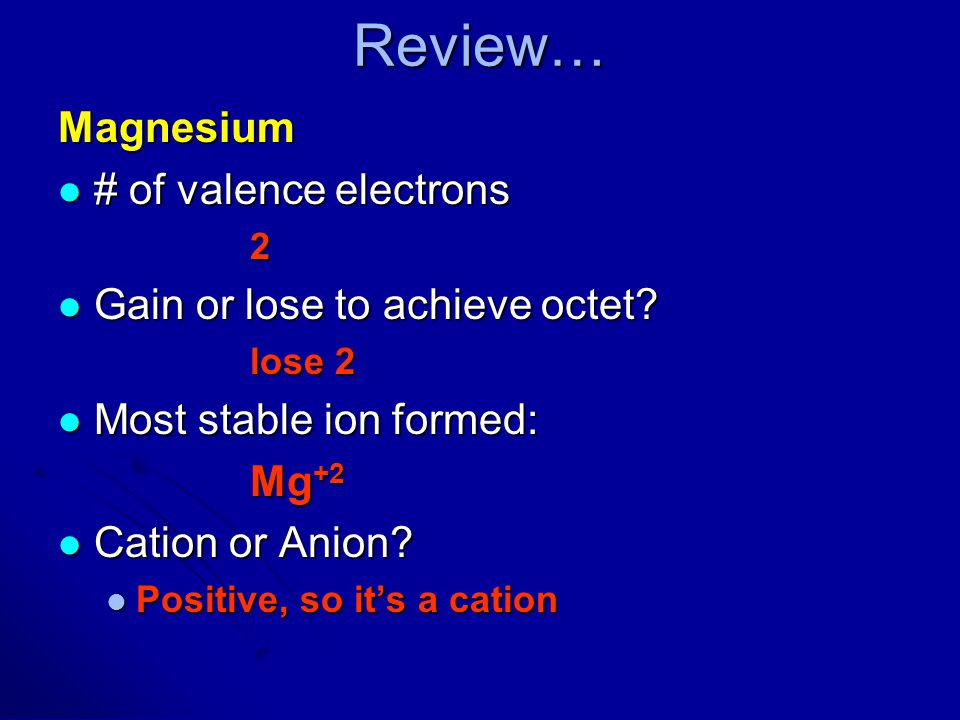 Review… Magnesium # of valence electrons