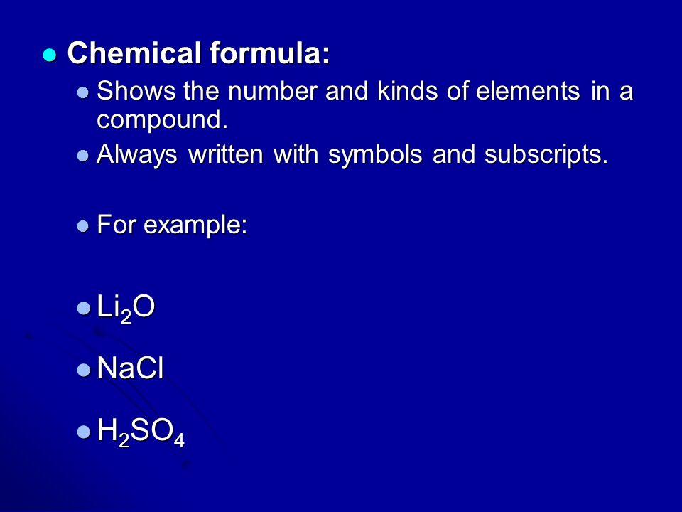Chemical formula: Li2O NaCl H2SO4