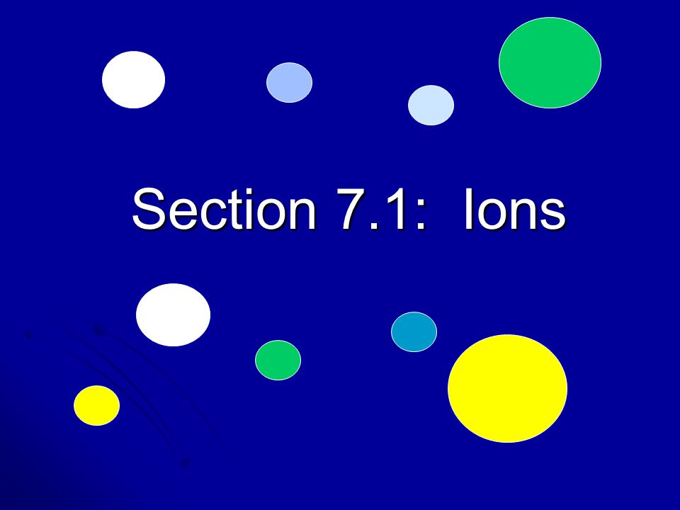Section 7.1: Ions