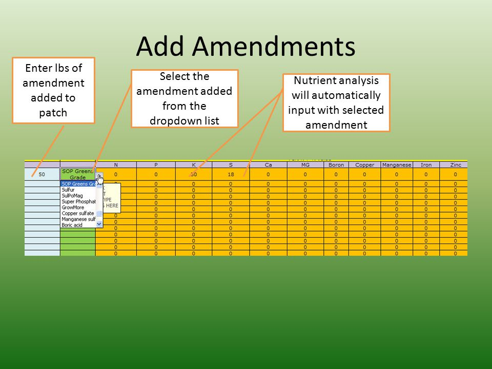 Add Amendments Enter lbs of amendment added to patch