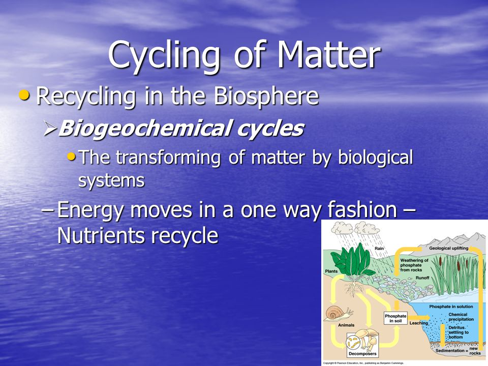 Cycling of Matter Recycling in the Biosphere Biogeochemical cycles