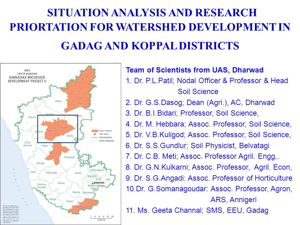 SITUATION ANALYSIS AND RESEARCH PRIORTATION FOR WATERSHED DEVELOPMENT IN GADAG AND KOPPAL DISTRICTS