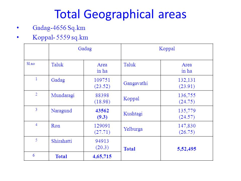 Total Geographical areas