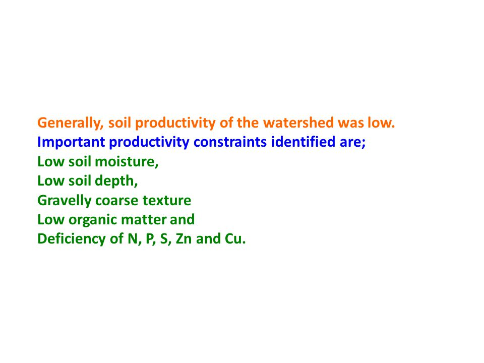 Generally, soil productivity of the watershed was low.
