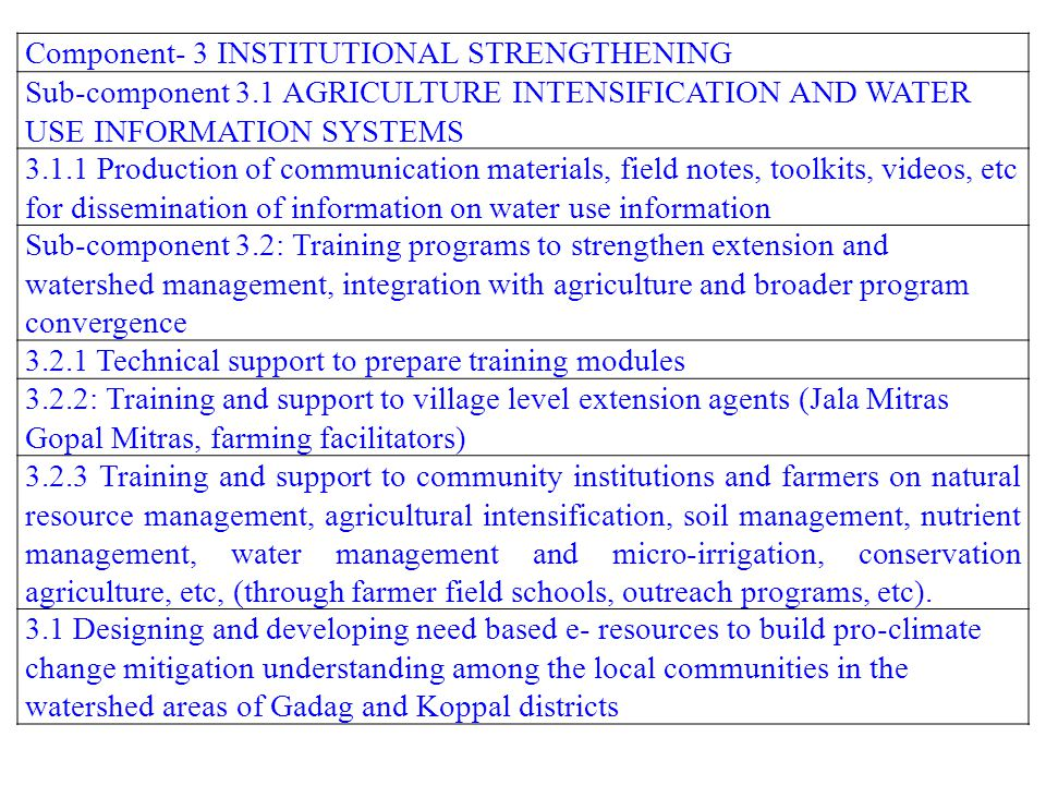 Component- 3 INSTITUTIONAL STRENGTHENING
