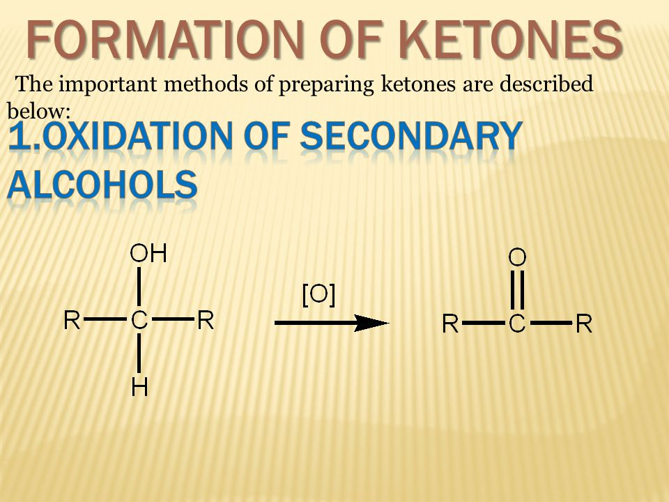 FORMATION OF KETONES 1.OXIDATION OF SECONDARY ALCOHOLS