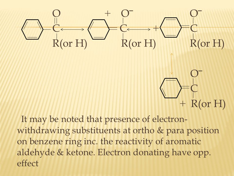O + O‾ O‾ C C + C R(or H) R(or H) R(or H) O‾ C + R(or H) It may be noted that presence of electron-withdrawing substituents at ortho & para position on benzene ring inc.