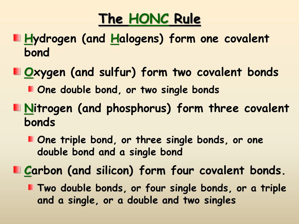 The HONC Rule Hydrogen (and Halogens) form one covalent bond