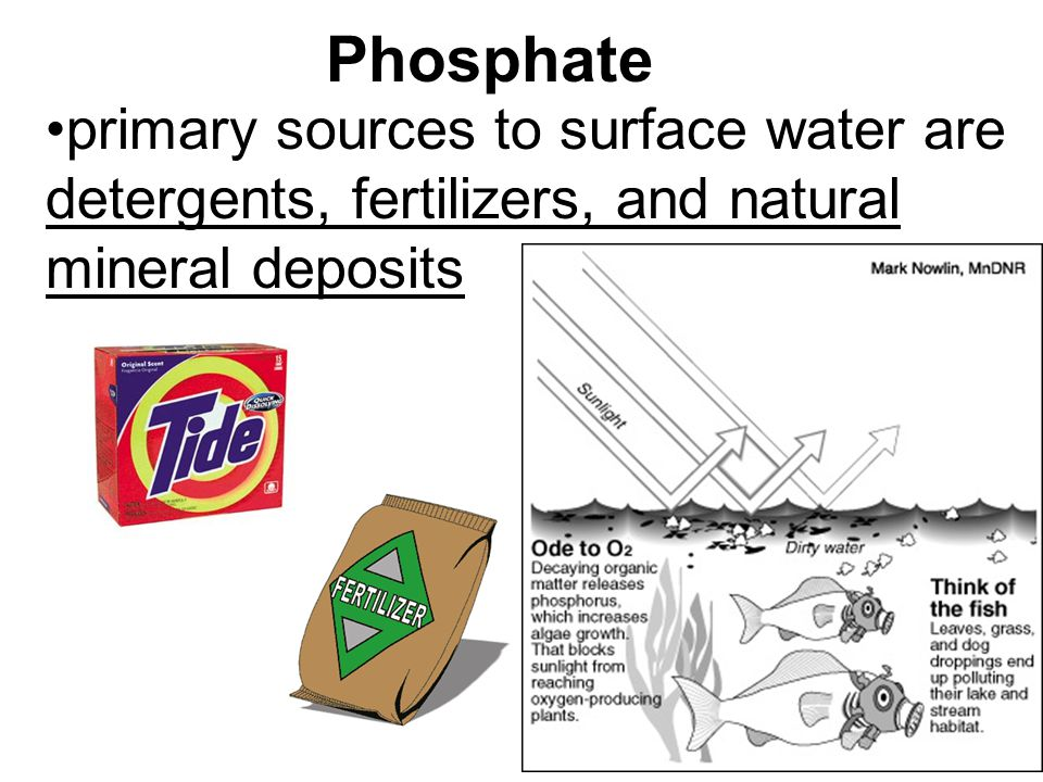 Phosphate primary sources to surface water are detergents, fertilizers, and natural mineral deposits.