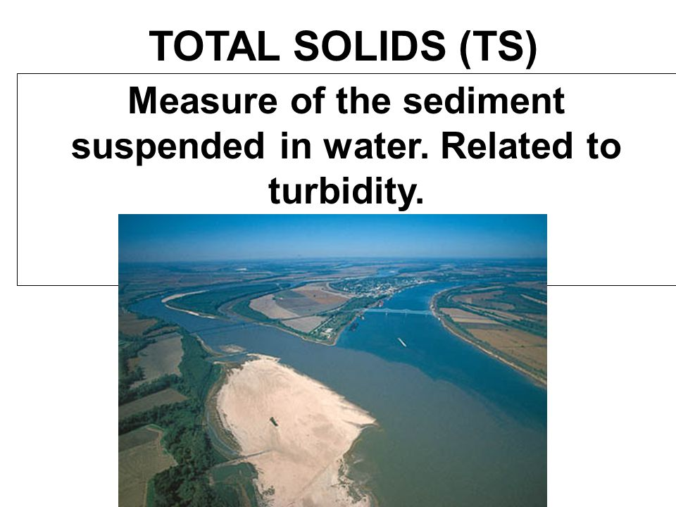 Measure of the sediment suspended in water. Related to turbidity.