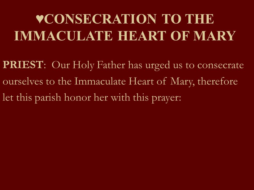 ♥CONSECRATION TO THE IMMACULATE HEART OF MARY