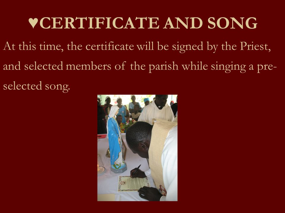 ♥CERTIFICATE AND SONG