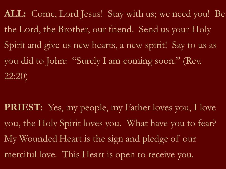 ALL: Come, Lord Jesus. Stay with us; we need you