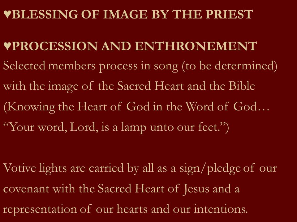 ♥BLESSING OF IMAGE BY THE PRIEST