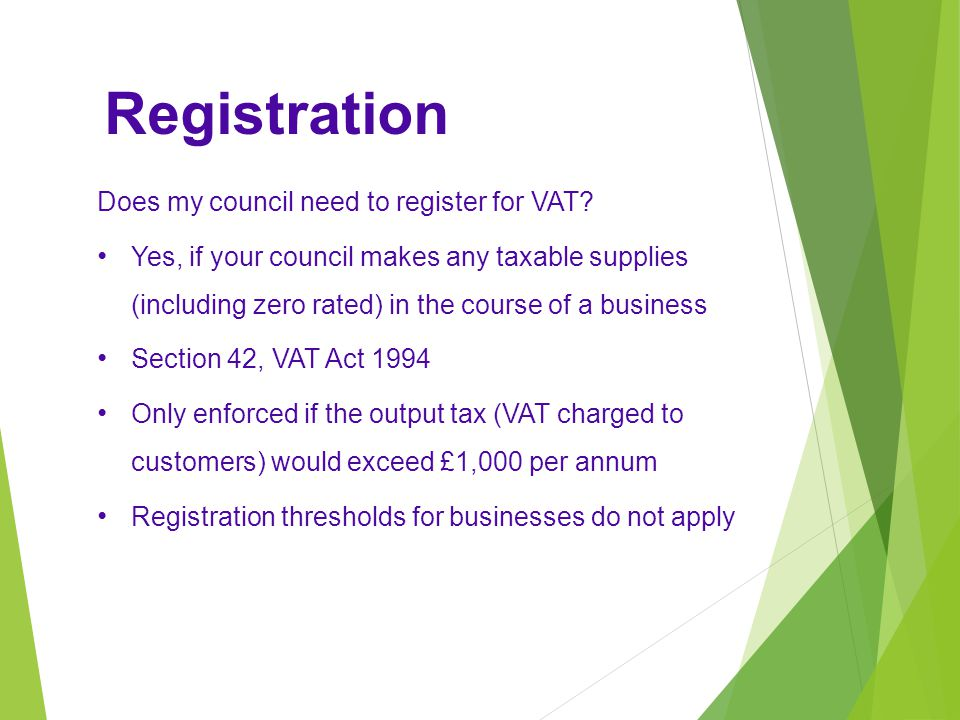 Registration Does my council need to register for VAT