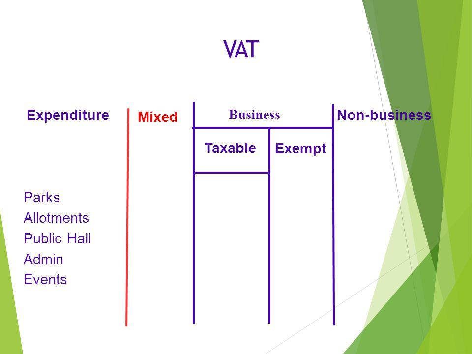 VAT Expenditure Parks Allotments Public Hall Admin Events Mixed