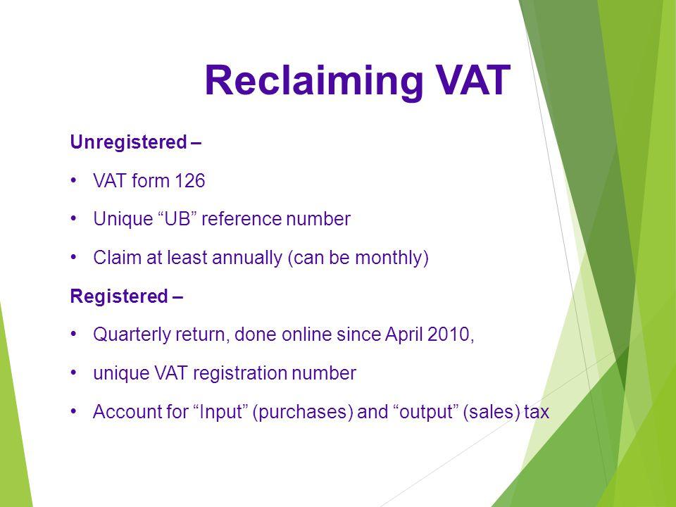 Reclaiming VAT Unregistered – VAT form 126