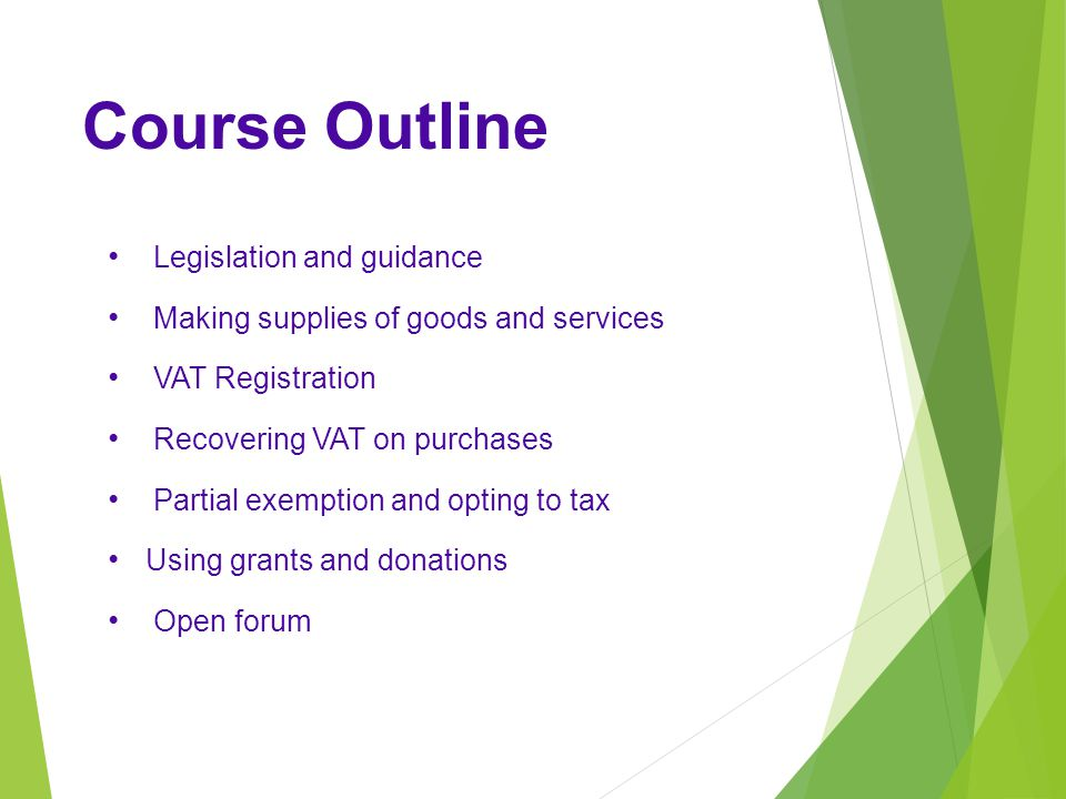 Course Outline Legislation and guidance