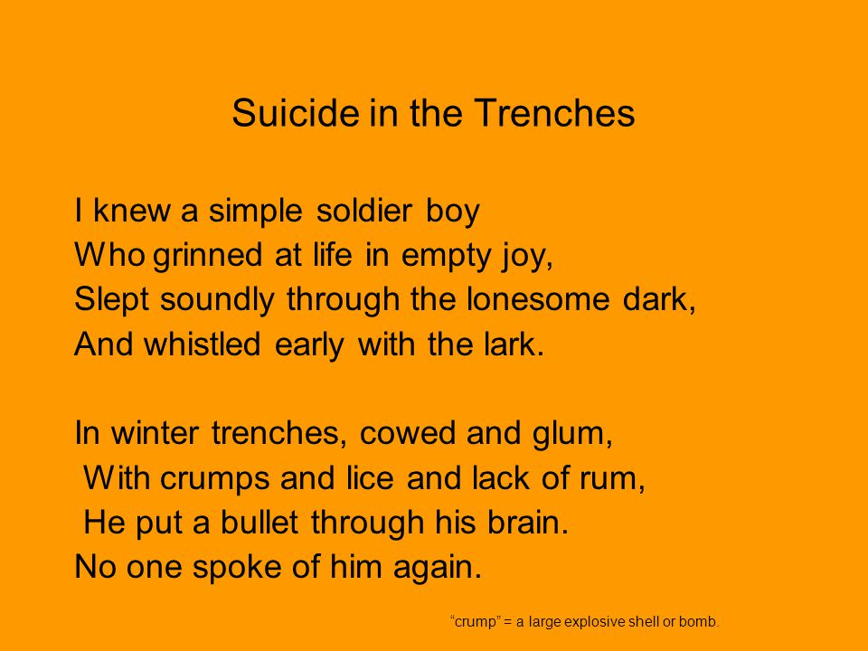 Suicide in the Trenches