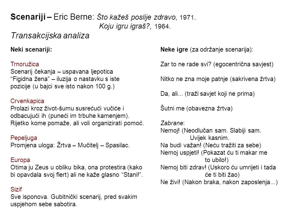 Scenariji – Eric Berne: Što kažeš poslije zdravo, 1971. Koju igru igraš , 1964. Transakcijska analiza