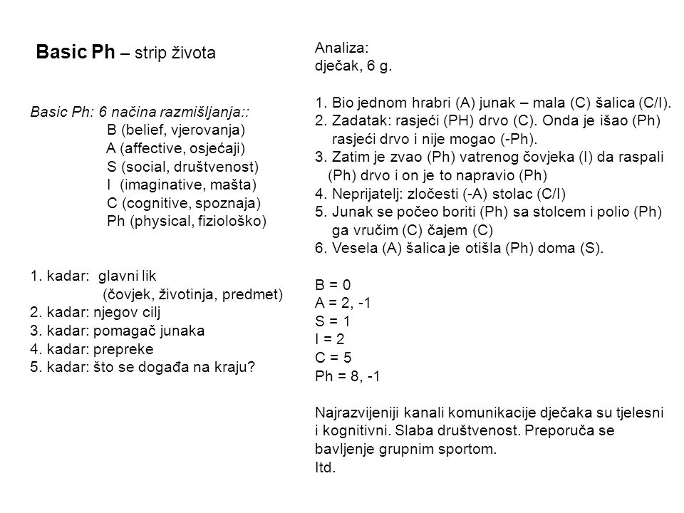 Basic Ph – strip života Analiza: dječak, 6 g.