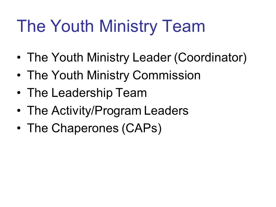 The Youth Ministry Team