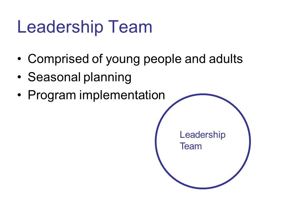 Leadership Team Comprised of young people and adults Seasonal planning