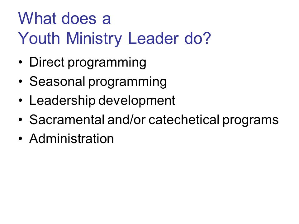 What does a Youth Ministry Leader do