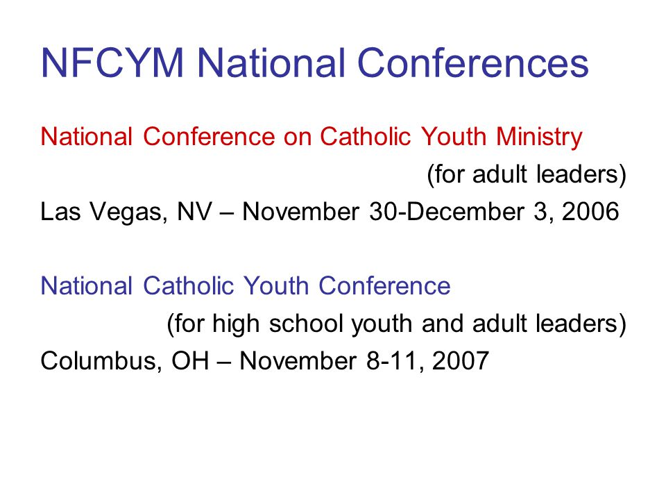 NFCYM National Conferences
