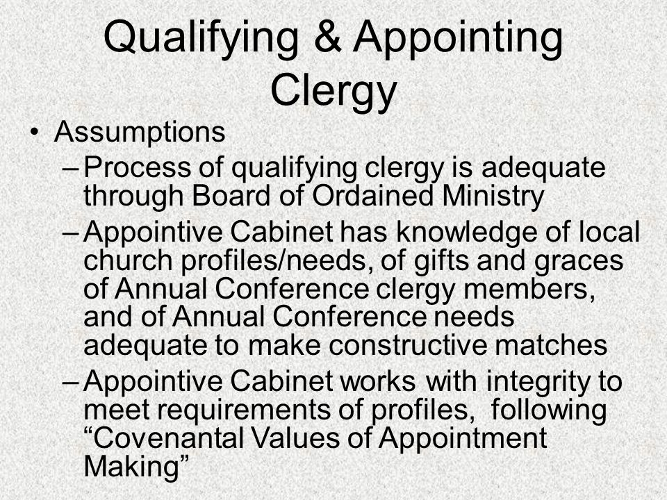 Qualifying & Appointing Clergy