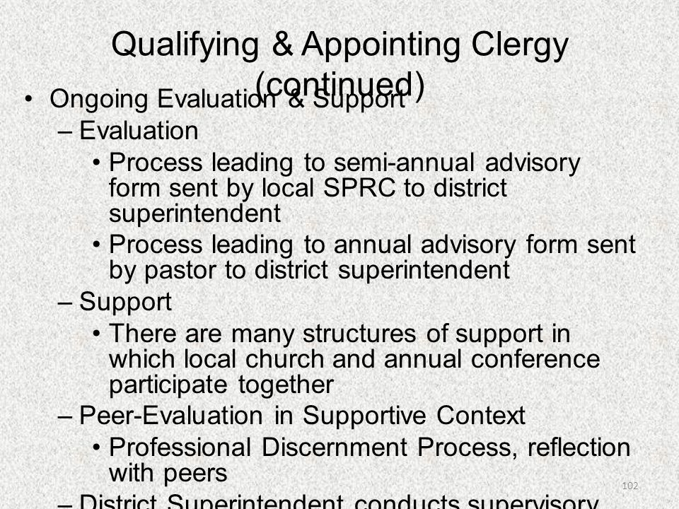 Qualifying & Appointing Clergy (continued)