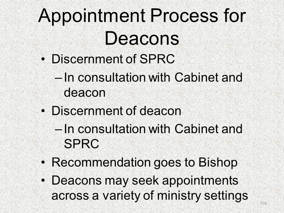 Appointment Process for Deacons