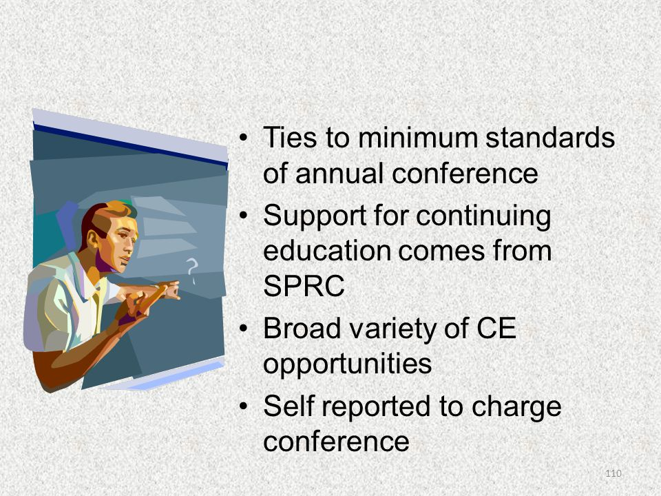 Ties to minimum standards of annual conference
